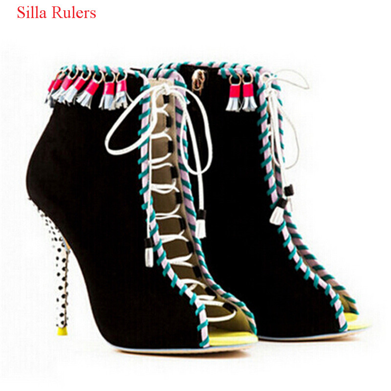 Roho Ethnic Suede Fringe Gladiator Sandals Women Ankle Boots Lace Up High Heels Shoes Woman Cut Out Summer Boots Botas MujerRoho Ethnic Suede Fringe Gladiator Sandals Women Ankle Boots Lace Up High Heels Shoes Woman Cut Out Summer Boots Botas Mujer