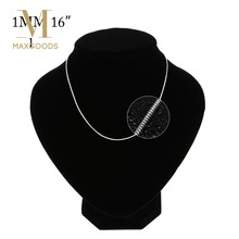 1 Pcs Slim Thin Snake Chains Necklace Fashion Women Men Silver Plated 1mm Snake Chain Necklace 16-24 inch Chain Available(China)