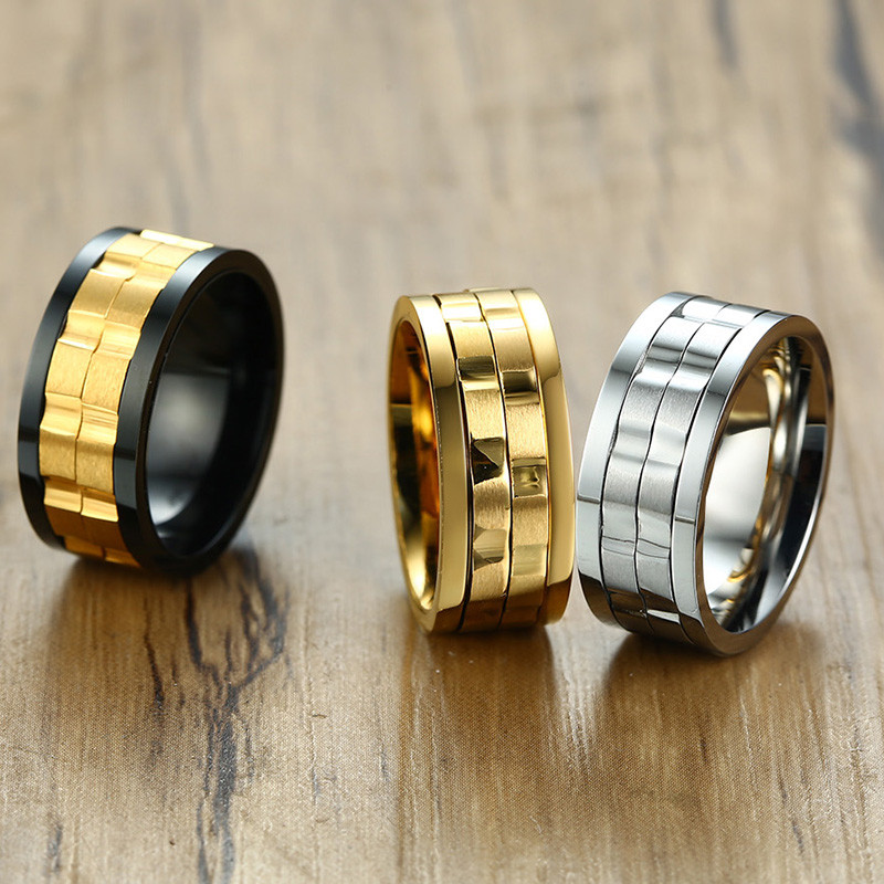 Image 2 - ZORCVENS 2020 New Fashion 9mm Gold Black Rotatable Stainless Steel Wedding Rings for ManRings   -