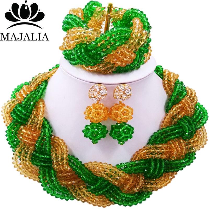 Majalia African Fashion Women Jewelry Set Green gold champagn Nigerian Wedding Jewelry Beaded Sets 12CB0017 majalia african fashion women jewelry set royal blue nigerian wedding jewelry beaded sets 12cb006