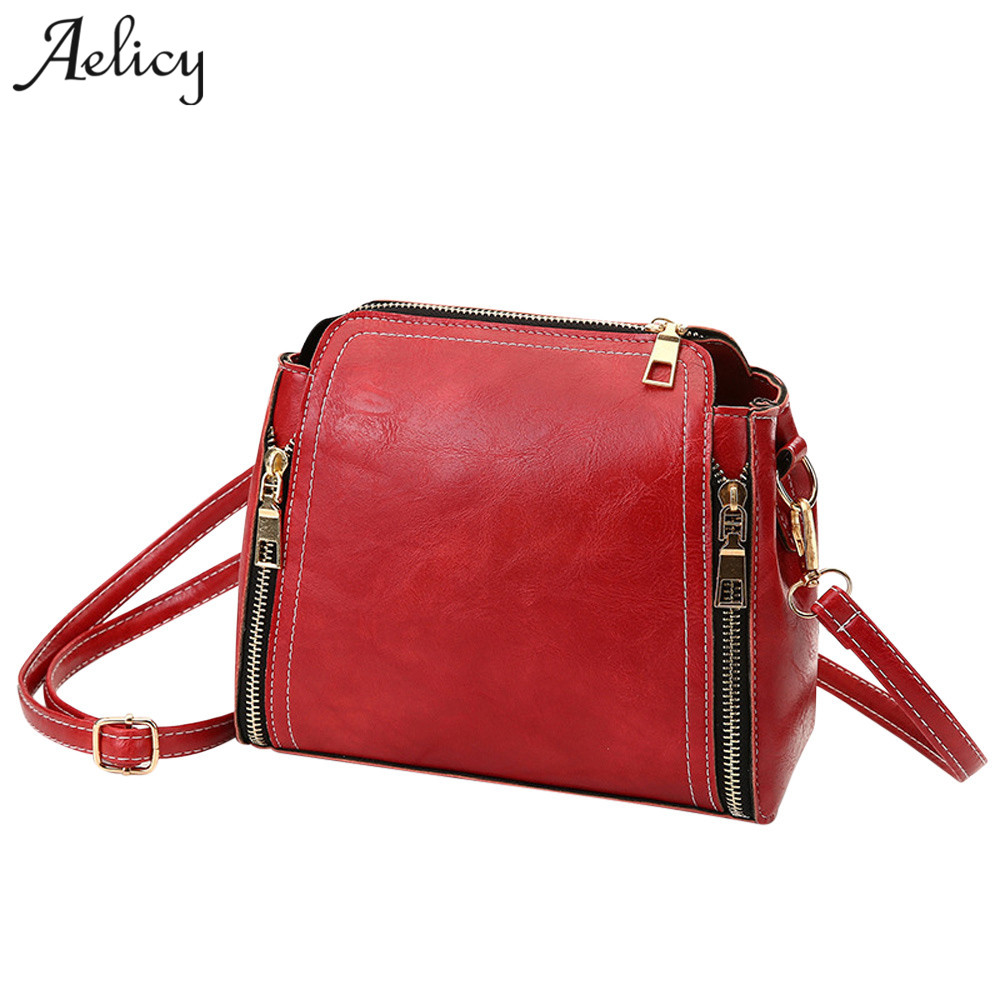 Aelicy Famous Brand Women Messenger Bag Female Double Zipper Handbag Pu Leather Fashion Ladies Shoulder Bag Women Crossbody Bag