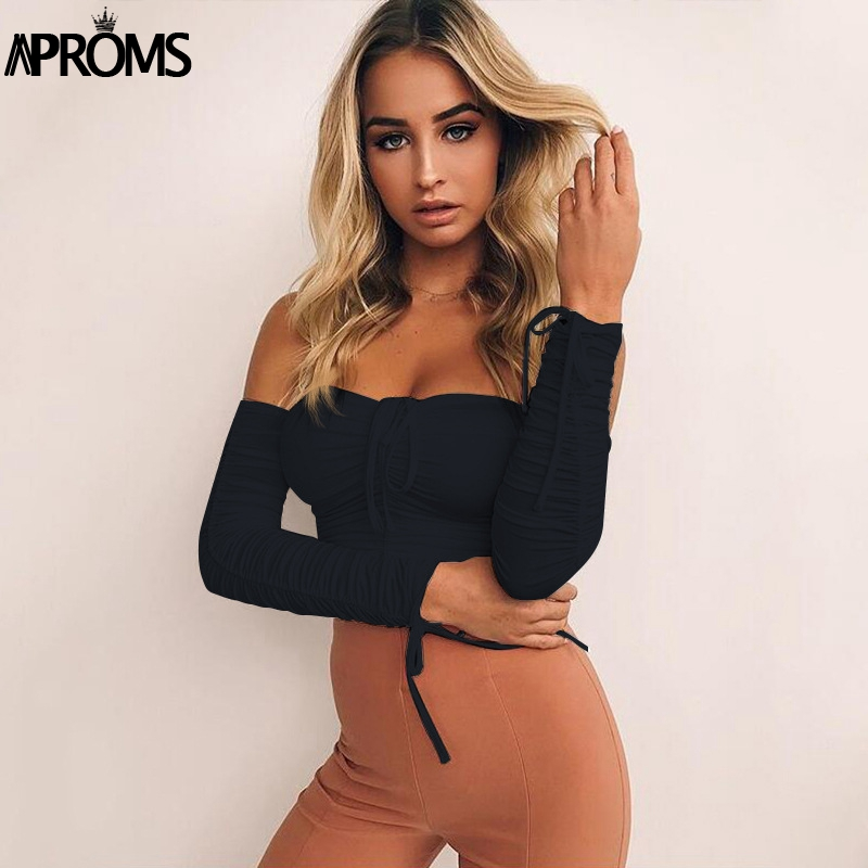 Aproms Coolest Off Shoulder Crop Tops Casual Ruched Pleated White T-shirt Women Short Sleeve Cropped Tshirt for Women Clothing 4