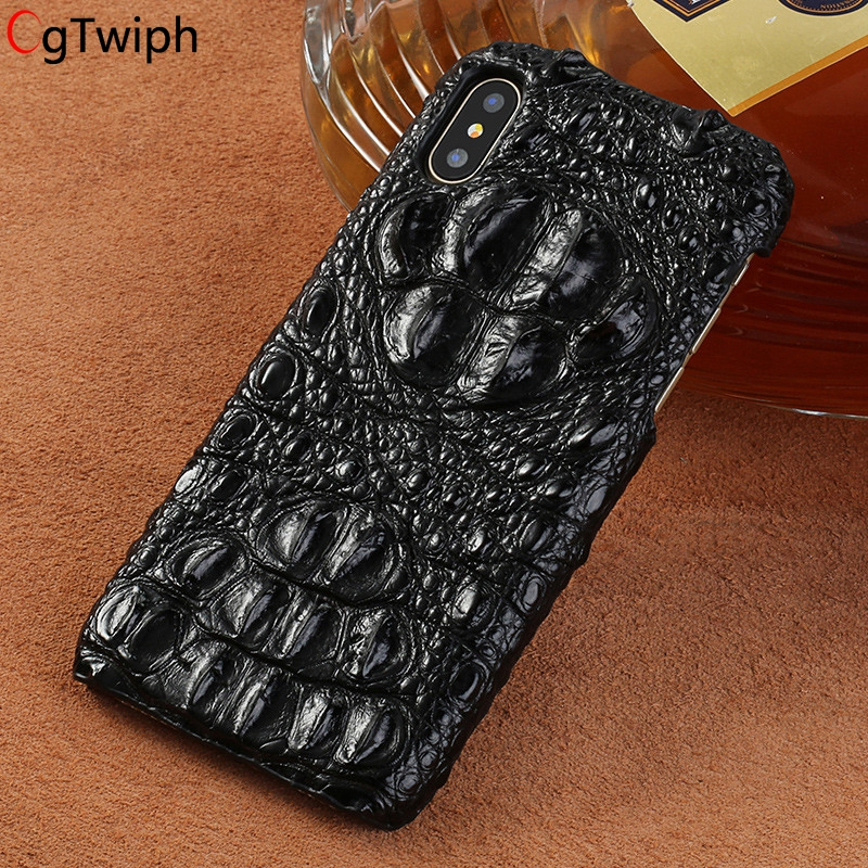 Luxury 100 Genuine Crocodile Leather Phone Case For iphone XR X XS Max Cover Marvel Funda