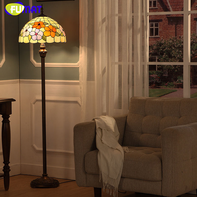 FUMAT Modern Brief European Style Stained Glass Floor Lamp For Living Room  Bedside Vintage Artistic Flower
