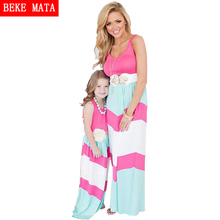 Matching Mother Daughter Dresses 2017 Summer Striped Patchwork Family Matching Outfits Family Look Mom And Girls