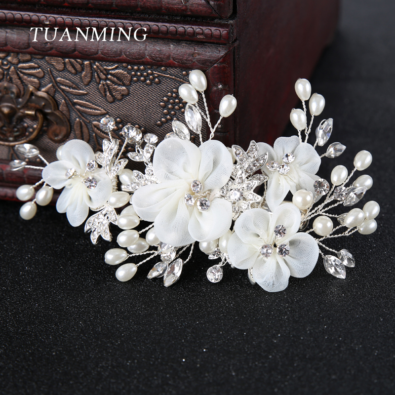 White Flower For Hair Wedding: TUANMING 1PCS Silver White Flower Hair Jewelry Pearl