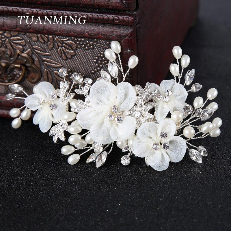 TUANMING 1PCS Silver White Flower Hair Jewelry Pearl Rhinestone Combs Barrettes Bridal Hairpins Wedding Bride Hair Accessories