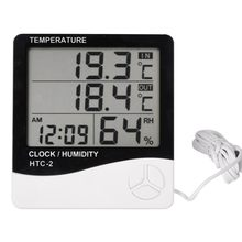 Room Indoor and Outdoor Electronic Temperature Humidity Meter Digital Thermometer Hygrometer Weather Station Alarm Clock HTC-2