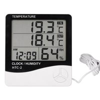 Room Indoor And Outdoor Electronic Temperature Humidity Meter Digital Thermometer Hygrometer Weather Station Alarm Clock HTC