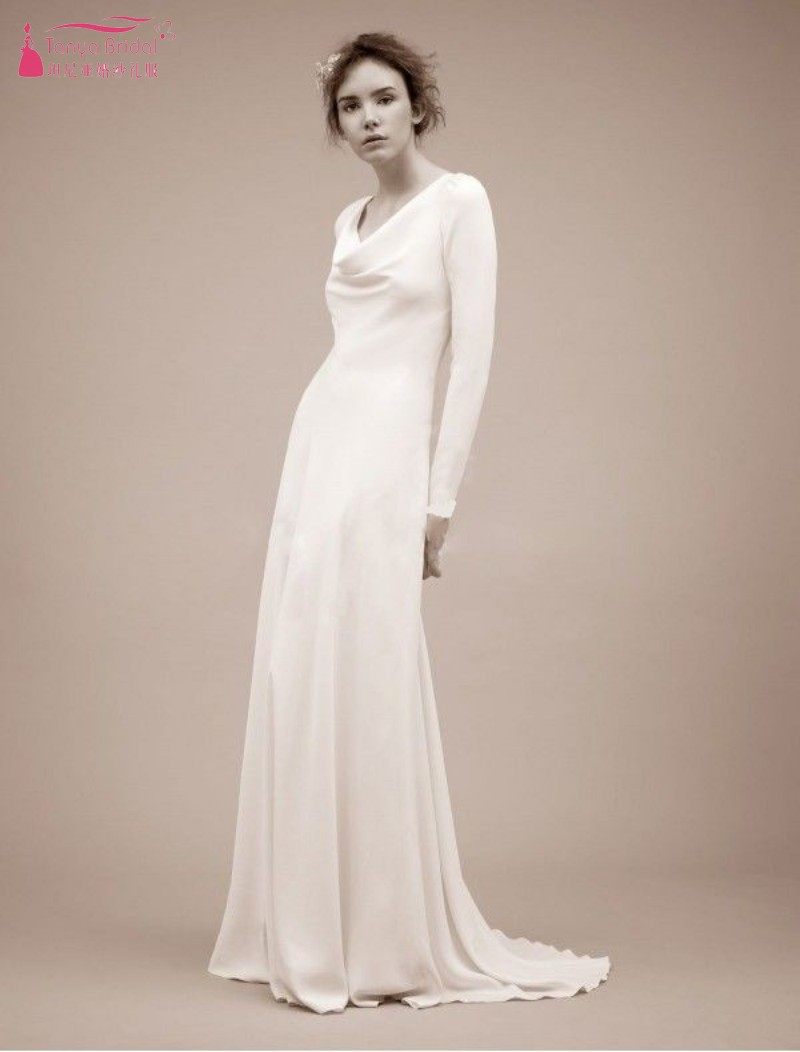 TANYA simple elegant Wedding Dresses Long sleeve Slim fit Floor length Birdal Gown SS133-in Wedding Dresses from Weddings & Events    1