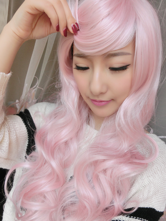 Harajuku 65Cm women s  Lady Fashion Cosplay Anime Wig Young Curly Big Wave  Lace Front Long Synthetic Party Pink Lolita Wig f283cf86e2
