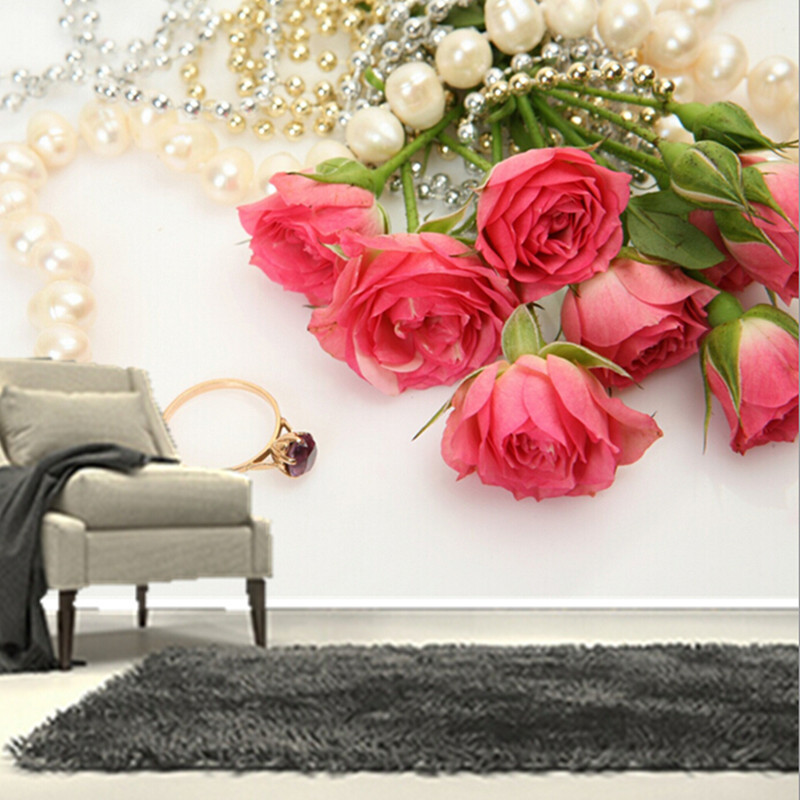 The custom 3D murals,romantic roses Jewelry Pink color Flowers wallpapers ,living room sofa TV wall bedroom wall paper 3d stereoscopic large mural custom wallpaper the living room backdrop bedroom fabric wall paper murals fashion romantic roses