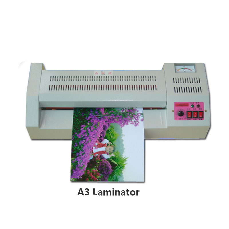Hot & Cold Temperture Laminator LAMINATING MACHINE A3 or A4 photo Laminating Machine for Cutting Automatically and accurately power driven cold laminator motor
