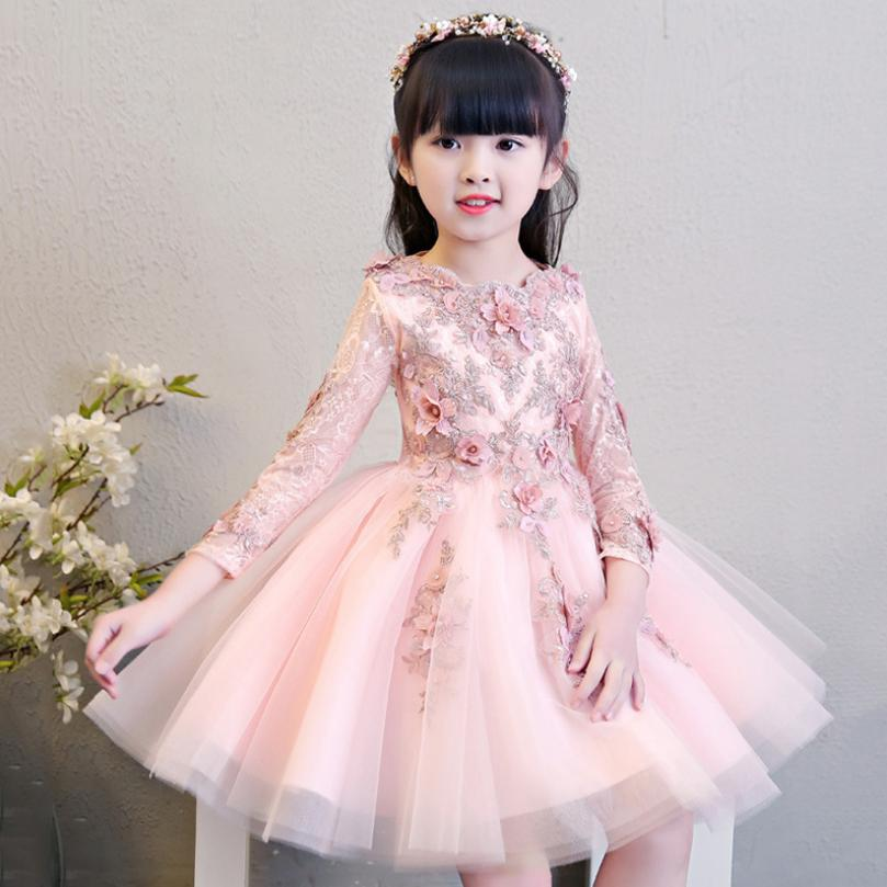 2019 New Girls Dresses For Wedding Pink Lace Girl Formal Birthday Party Princess Gown First Communion Dress Modis Vestidos Y1504(China)