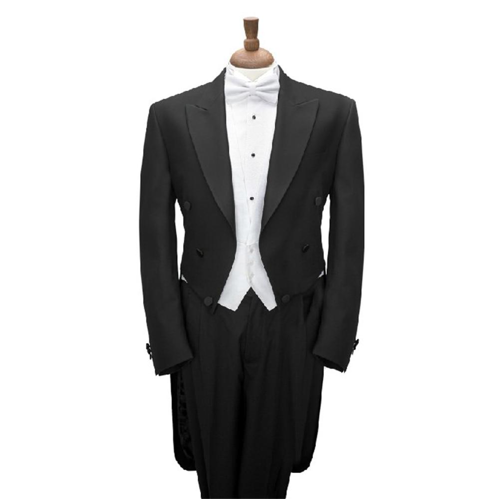 TAILCOAT noir sur mesure avec gilet blanc, long tailcoat de smoking noir sur mesure, costumes sur mesure pour hommes-in Costumes from Vêtements homme    1