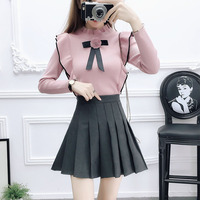 autumn outfit women pullover top sweater & thickening pleated skirts two piece clothing set lady vestido knitwear top skirt
