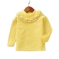 חולצת הטריקו לבנות צהוב מוצק שרוול ארוך חולצות האופנה בגדי ילדים מזדמנים סתיו אביב בגדי בנות חמודות קצה פטרייה