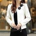 Mais novo estilo Primavera verão fino feminino casaco curto mulher roupas casacos ternos revestimento das mulheres Outwear 4XL branco
