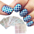 24 Sheets New Nail Hollow Irregular Grid Stencil Reusable Manicure Stickers Stamping Template Nail Art Tools New Arrival J170118