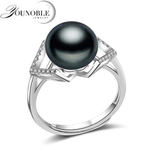 Wedding Real 925 sterling silver ring with pearl,adjustable freshwater black pearl ring wift birthday gift