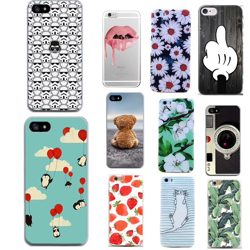 Silicone Case for iphone 5s 5 SE 6 6s 6 7 for iphone 7 case Coque Flower Rose Fruit Plant pattern Soft TPU Phone Case