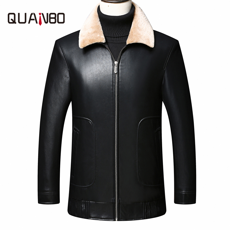 QUANBO 2019 New Winter Warm 90% Grey Duck   Down   Jackets Quality Fur Collar Detachable Leather   Down     Coat   Black Clothing 4XL