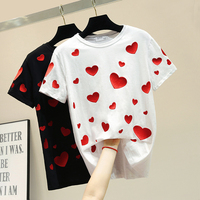 White Female Tshirts 2019 New Spring Summer Fashion Short Sleeve Basic Top All match Love Embroidery Loose Students T shirts