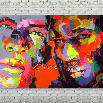 Palette knife portrait Face Oil painting Character figure canva Hand painted Francoise Nielly wall Art picture for living room18
