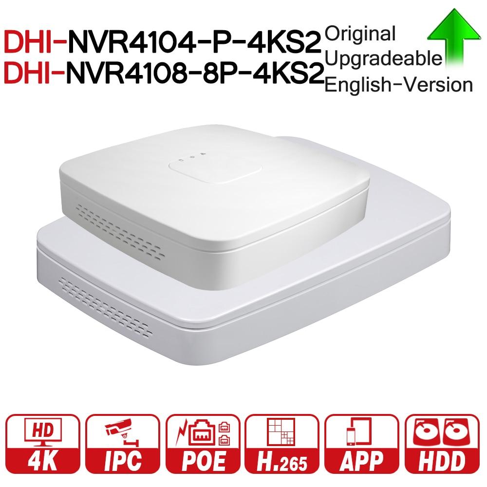 DH 4 К POE NVR NVR4104-P-4KS2 NVR4108-8P-4KS2 с 4/8ch PoE h.265 видео Регистраторы Поддержка ONVIF 2,4 SDK CGI с dahua логотип