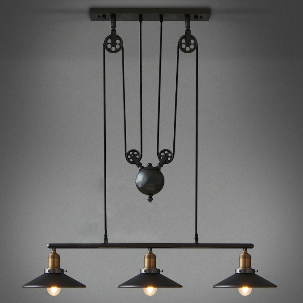 Vintage Loft Industrial LED American Country  pulley pendant light  Adjustable Wire Lamps Retractable Decoration Lighting chrome oxide plated steel wire guide pulley for wire industry