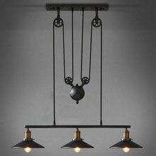 Vintage Loft Industrielle LED Amerikanischen Land riemenscheibe pendelleuchte Einstellbar Draht Lampen Versenkbare Dekoration Beleuchtung