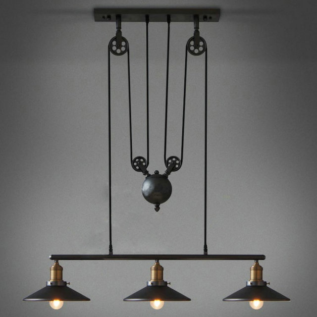 Vintage Loft Industrial LED American Country pulley pendant light ...