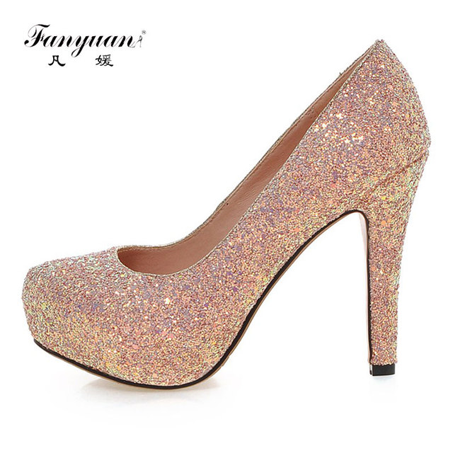 Fanyuan Size 34-43 Round Toe High Heels Shoes Women Glitters Shallow Thick Heel  Pumps Daily Leisure Party Wedding Lady Footwear 4a529799404f