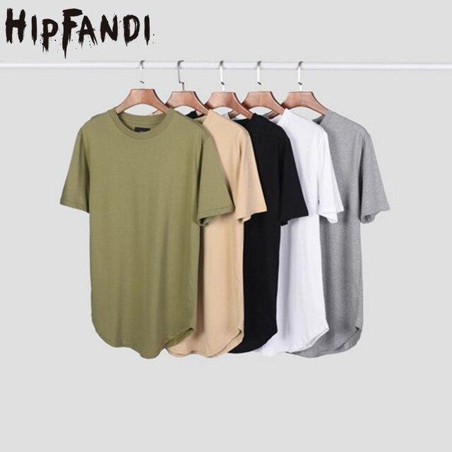 HIPFANDI גברים מורחב מערב kanye החדש streetwear כותנה Swag Mens מוצק חולצות T טיז של גברים חולצה לא היפ הופ למעלה