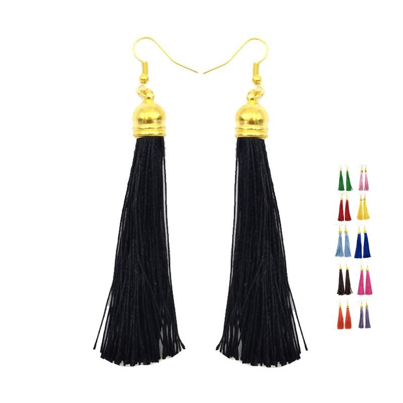 URORU Long Tassels Earrings For Women Colors Earings Bohemia Brinco Ethnic Pendientes Statement Boho Eearring Fashion Ooorbellen