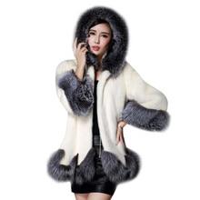 2016 6XL модные пальто с искусственным мехом женские белый серый с меховая шапка меховая куртка зимняя куртка женские Динамик рукава женские пальто верхняя одежда