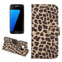 For Samsung Galaxy S7 Edge G9350 G935 Leopard Print Pattern Stand Card Flip Wallet Case For