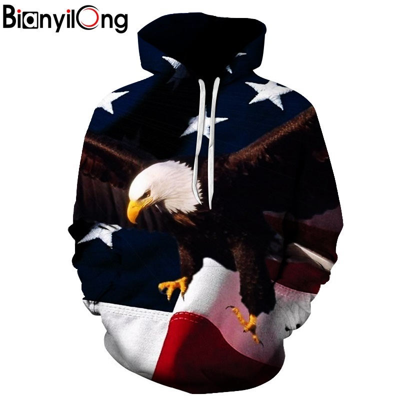 BIANYILONG Mens Fashion Hoodie Eagle 3D Print Sweatshirts American Flag Hooded Sweats Tops Hip Hop Graphic Pullover Dropship