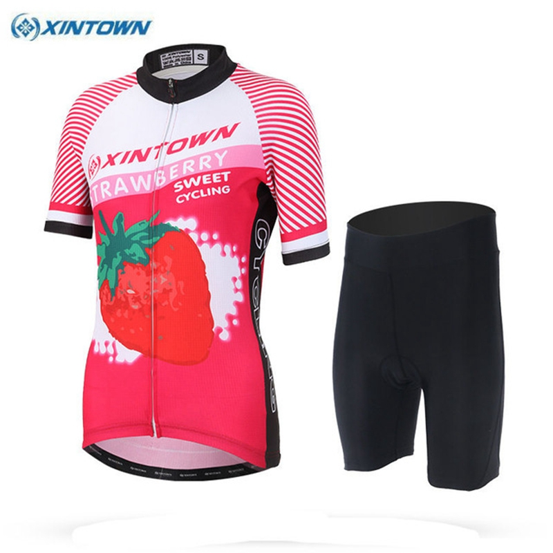 2018 XINTOWN Team Womens Short Sleeve Ropa Ciclismo Maillot Cycling Jersey Set Mountain Bike Clothing Breathable Bicycle Clothes