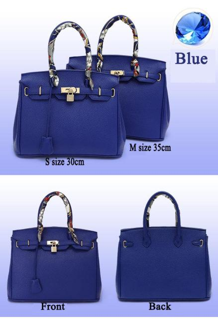 Designers High quality PU leather handbag with gold lock scarf woman bags fashion