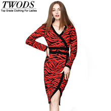 Twods M L XL Sexy Wrap V neck Leopard Wool Knitted Dress 2016 Fall Winter Long Sleeve Knee Length Sweater pencil Dresses Red
