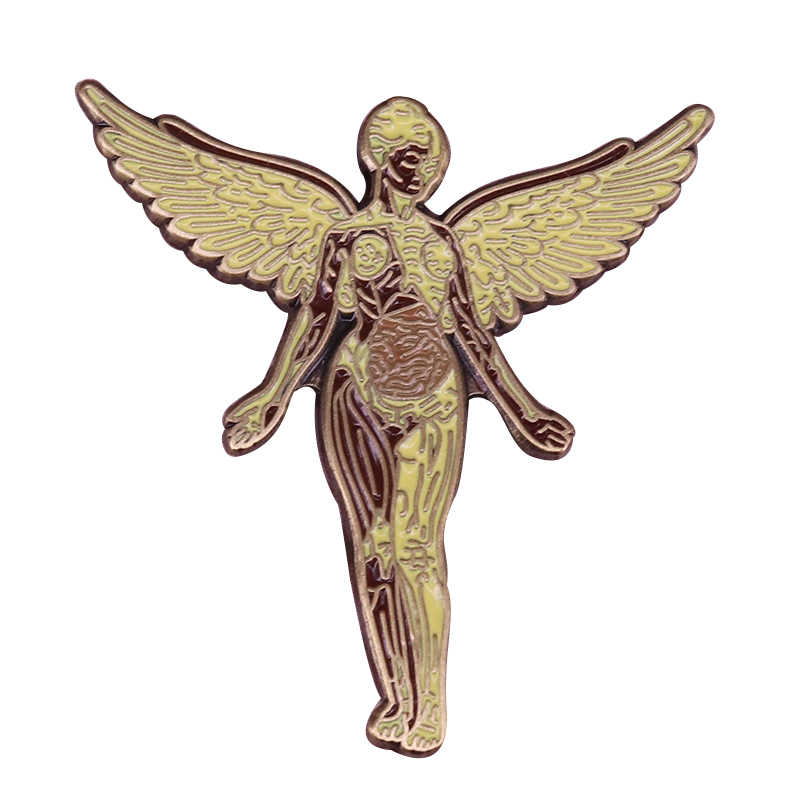 Nirvana rock band pin in uterus music badge Angel art brooch heavy metal fans gift Grunge decor
