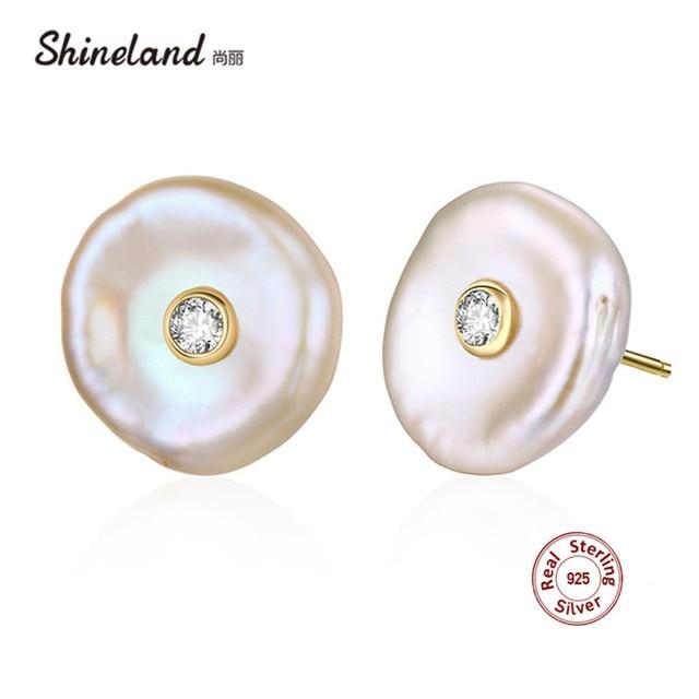Shineland 100% Chính Hãng 925 Sterling Silver Bạc Baroque Tự Nhiên Ngọc Trai Nước Ngọt Stud Bông Tai Hình Dạng Không Đều Brincos đối với Phụ Nữ