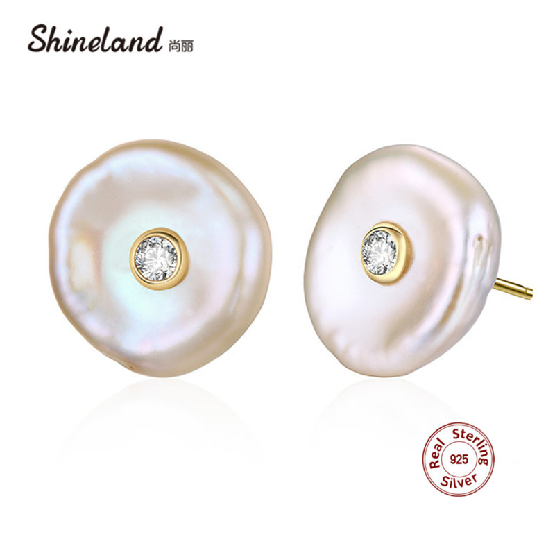 Shineland 100% Genuine 925 Sterling Silver Baroque Natural Freshwater Pearl Stud Earrings Irregular Shape Brincos  for WomenShineland 100% Genuine 925 Sterling Silver Baroque Natural Freshwater Pearl Stud Earrings Irregular Shape Brincos  for Women