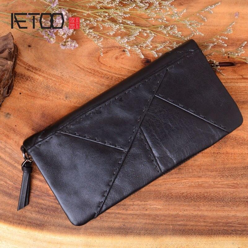 0598ff508 AETOO bolso de mano de cuero de los hombres hechos a mano costura larga  cremallera Cartera de cuero móvil bolsa de embrague casual