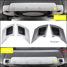 все цены на Wooeight 2Pcs Car Rear Fender Exhaust Pipe Tail Bumper Tube Trim Cover Sticker for Land Rover Discovery 5 LR5 2017 2018 2019 онлайн