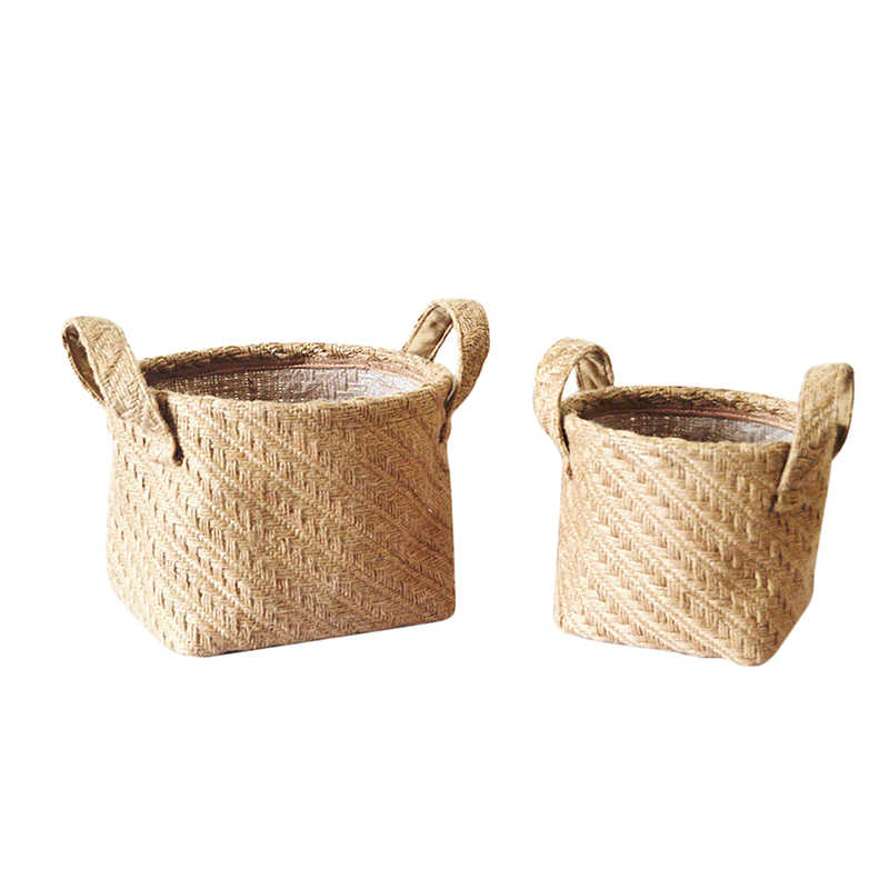 Multifunction Small & Large Braided Jute Cloth Storage Basket Flowerpot Cotton And Linen Blended Desktop Storage Box