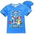 Tobot Meninos Verão T-shirt de Tecido De Algodão Puro E Novo Azul Dos Desenhos Animados Carro de impressão Homem Roupas de Roupas Infantis Para 9 Anos de Idade Monya