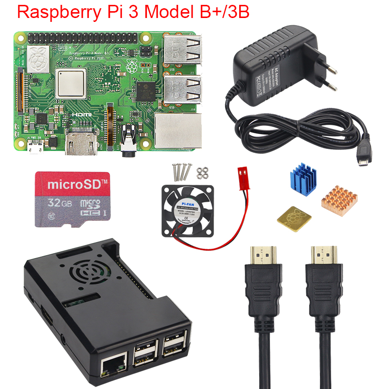 Raspberry Pi 3 Модель B + плюс Starter Kit + ABS чехол + 16 32 ГБ SD карта + 3A адаптер питания + вентилятор охлаждения + теплоотвод + кабель HDMI