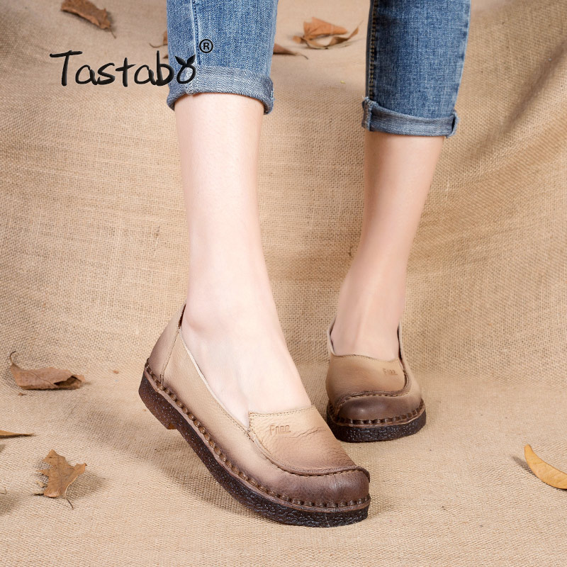 Tastabo Shoes Woman 2017 Autumn Cow Muscle Slip On Loafers Solid Genuine Leather Female Casual Shoes